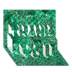 Brick2 Black Marble & Green Marble (r) Thank You 3d Greeting Card (7x5)