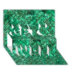Brick2 Black Marble & Green Marble (r) Get Well 3d Greeting Card (7x5)