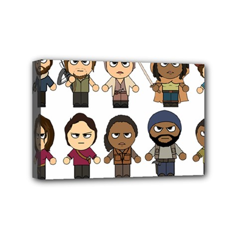 The Walking Dead   Main Characters Chibi   Amc Walking Dead   Manga Dead Mini Canvas 6  X 4  by PTsImaginarium