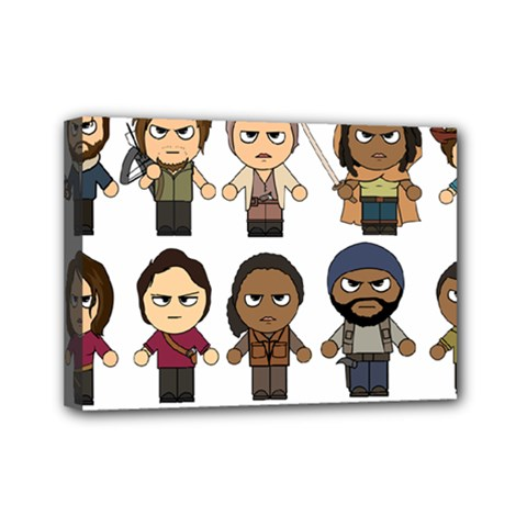 The Walking Dead   Main Characters Chibi   Amc Walking Dead   Manga Dead Mini Canvas 7  X 5  by PTsImaginarium
