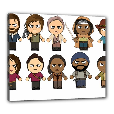The Walking Dead   Main Characters Chibi   Amc Walking Dead   Manga Dead Canvas 24  X 20  by PTsImaginarium