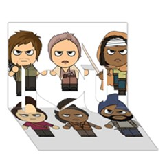 The Walking Dead   Main Characters Chibi   Amc Walking Dead   Manga Dead I Love You 3d Greeting Card (7x5)  by PTsImaginarium