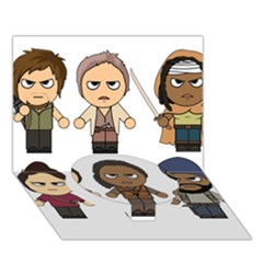 The Walking Dead   Main Characters Chibi   Amc Walking Dead   Manga Dead Circle Bottom 3d Greeting Card (7x5)