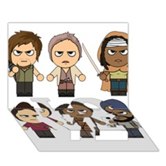 The Walking Dead   Main Characters Chibi   Amc Walking Dead   Manga Dead Love Bottom 3d Greeting Card (7x5)  by PTsImaginarium