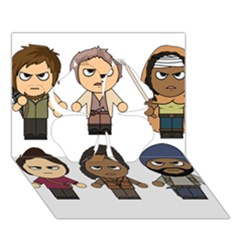 The Walking Dead   Main Characters Chibi   Amc Walking Dead   Manga Dead Clover 3d Greeting Card (7x5)  by PTsImaginarium