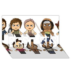 The Walking Dead   Main Characters Chibi   Amc Walking Dead   Manga Dead Best Sis 3d Greeting Card (8x4)  by PTsImaginarium