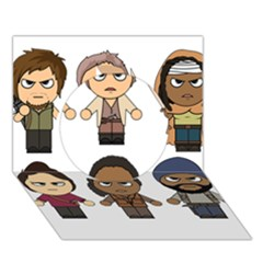 The Walking Dead   Main Characters Chibi   Amc Walking Dead   Manga Dead Circle 3d Greeting Card (7x5)  by PTsImaginarium