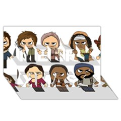 The Walking Dead   Main Characters Chibi   Amc Walking Dead   Manga Dead Merry Xmas 3d Greeting Card (8x4)  by PTsImaginarium