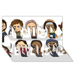 The Walking Dead   Main Characters Chibi   Amc Walking Dead   Manga Dead Laugh Live Love 3d Greeting Card (8x4)