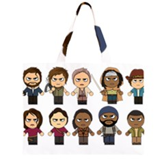 The Walking Dead   Main Characters Chibi   Amc Walking Dead   Manga Dead Zipper Large Tote Bag by PTsImaginarium