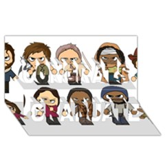 The Walking Dead   Main Characters Chibi   Amc Walking Dead   Manga Dead Congrats Graduate 3D Greeting Card (8x4)  by PTsImaginarium