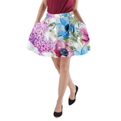 Watercolor Spring Flowers A Line Pocket Skirt by TastefulDesigns