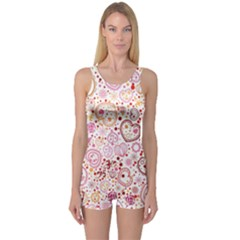 Ornamental Pattern With Hearts And Flowers  One Piece Boyleg Swimsuit
