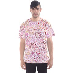 Ornamental Pattern With Hearts And Flowers  Men s Sport Mesh Tee
