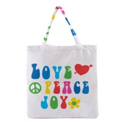 Love Peace Joy Grocery Tote Bag