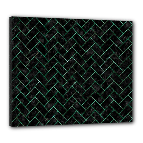 Brick2 Black Marble & Green Marble Canvas 24  X 20  (stretched)