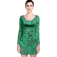 Brick1 Black Marble & Green Marble (r) Long Sleeve Velvet Bodycon Dress by trendistuff