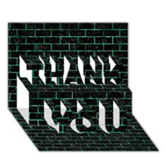 Brick1 Black Marble & Green Marble Thank You 3d Greeting Card (7x5)
