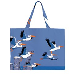 Abstract Pelicans Seascape Tropical Pop Art Zipper Large Tote Bag by WaltCurleeArt