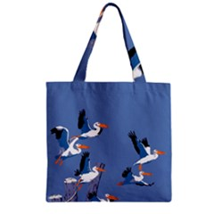 Abstract Pelicans Seascape Tropical Pop Art Zipper Grocery Tote Bag by WaltCurleeArt