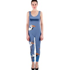 Abstract Pelicans Seascape Tropical Pop Art Onepiece Catsuit by WaltCurleeArt