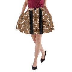 Orange And Black Boho Stripes Print A Line Pocket Skirt by dflcprintsclothing