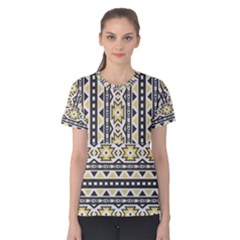 Ornamental Black And Yellow Boho Pattern Women s Cotton Tee