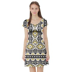 Ornamental Black And Yellow Boho Pattern Short Sleeve Skater Dress