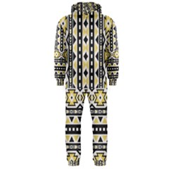 Ornamental Black and yellow boho pattern Hooded Jumpsuit (Men)  by TastefulDesigns