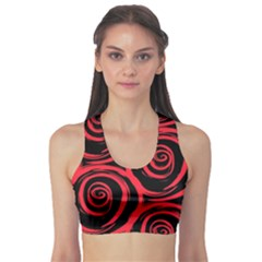 Abtract  Red Roses Pattern Sports Bra by TastefulDesigns