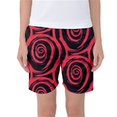 Abtract  Red Roses Pattern Women s Basketball Shorts
