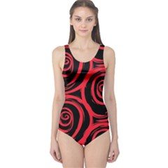 Abtract  Red Roses Pattern One Piece Swimsuit