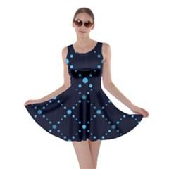 Seamless Geometric Blue Dots Pattern  Skater Dress