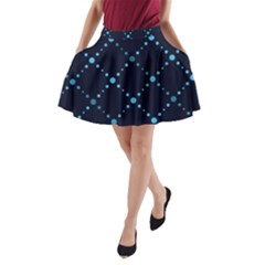 Seamless Geometric Blue Dots Pattern  A Line Pocket Skirt by TastefulDesigns