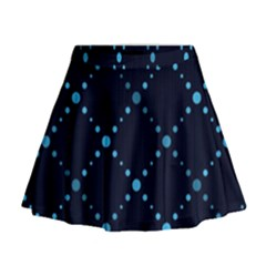 Seamless Geometric Blue Dots Pattern  Mini Flare Skirt