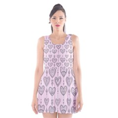 Sketches Ornamental Hearts Pattern Scoop Neck Skater Dress