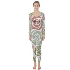 Retro Elegant Floral Pattern Long Sleeve Catsuit