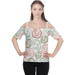 Retro Elegant Floral Pattern Women s Cutout Shoulder Tee