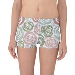 Retro Elegant Floral Pattern Reversible Boyleg Bikini Bottoms