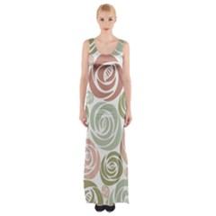 Retro Elegant Floral Pattern Maxi Thigh Split Dress