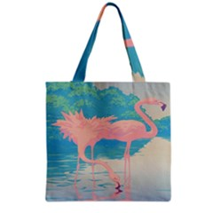 Two Pink Flamingos Pop Art Grocery Tote Bag by WaltCurleeArt