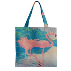 Two Pink Flamingos Pop Art Zipper Grocery Tote Bag by WaltCurleeArt