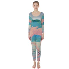Two Pink Flamingos Pop Art Long Sleeve Catsuit by WaltCurleeArt
