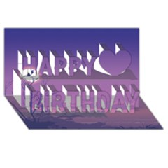 Abstract Tropical Birds Purple Sunset  Happy Birthday 3d Greeting Card (8x4)