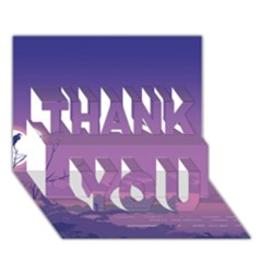 Abstract Tropical Birds Purple Sunset  Thank You 3d Greeting Card (7x5)  by WaltCurleeArt