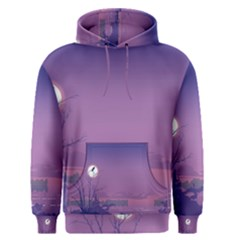 Abstract Tropical Birds Purple Sunset  Men s Pullover Hoodie by WaltCurleeArt