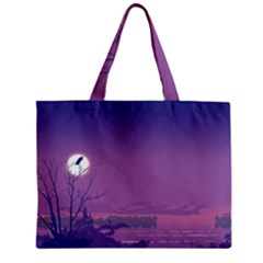 Abstract Tropical Birds Purple Sunset  Zipper Mini Tote Bag by WaltCurleeArt