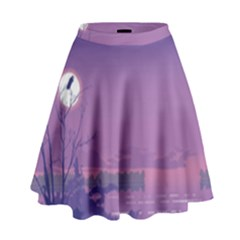 Abstract Tropical Birds Purple Sunset  High Waist Skirt by WaltCurleeArt
