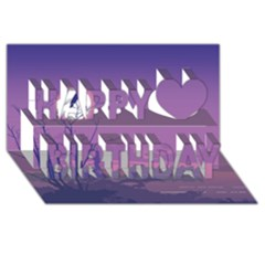 Abstract Tropical Birds Purple Sunset Happy Birthday 3d Greeting Card (8x4)  by WaltCurleeArt