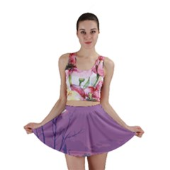 Abstract Tropical Birds Purple Sunset Mini Skirt by WaltCurleeArt